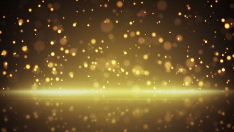 flying gold particles and reflection loop background - stock footage