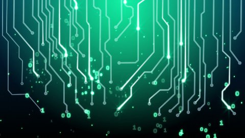 green circuit board and binary symbols loop - stock footage