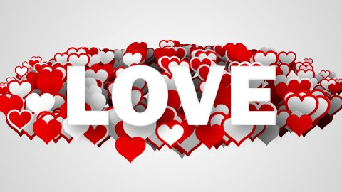 love text on heart shapes loop - stock footage