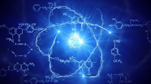 shiny atom model and chemistry formulas loopable - stock footage