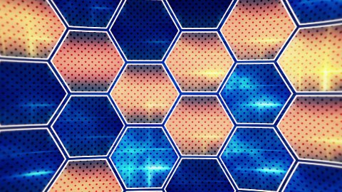 flashing blue orange hexagons loopable background - stock footage
