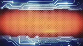 blue orange techno plate loopable background - motion graphic