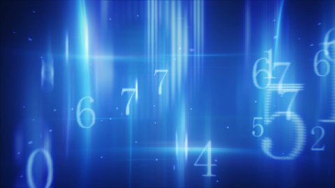 flying pass twitching glowing numbers loop - stock footage