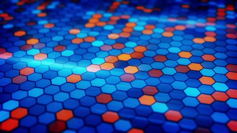 blinking blue orange hexagons loopable background - stock footage