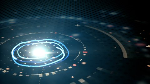 blue abstract techno circles loopable background - stock footage