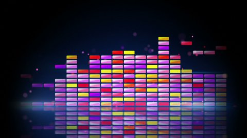 digital colorful equalizer with reflection loop - stock footage
