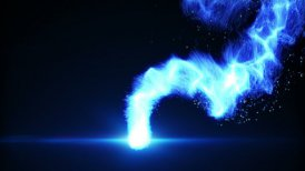 flying blue plasma ball loop - motion graphic
