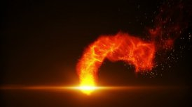 flying fireball with sparks loop - motion graphic