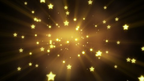 gold star shapes flying loopable background - stock footage