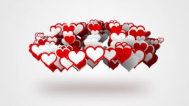red white heart shapes loopable background - motion graphic