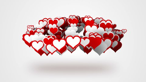 red white heart shapes loopable background - stock footage