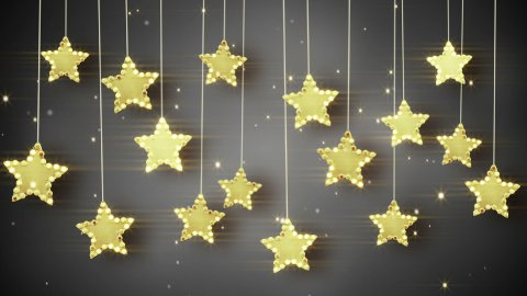 gold hanging stars christmas lights loop - stock footage