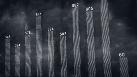 graph chart on blackboard loopable - stock footage