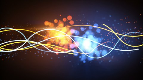 blue and orange lines and particles abstract loopable background - stock footage