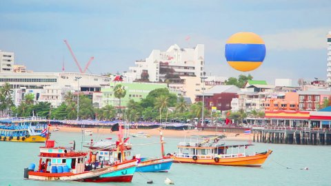 ships on pier in Pattaya city, Thailand - stock footage