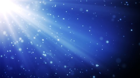 blue particles in light beams loopable background - stock footage