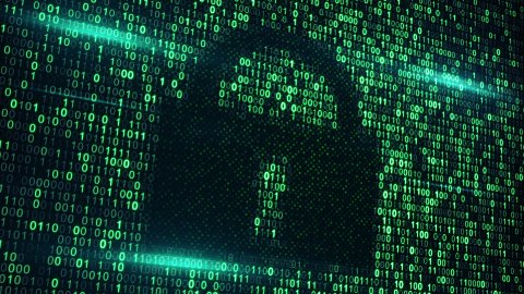 cyberspace digital lock loopable background - stock footage