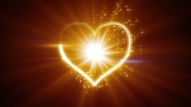 shiny heart shape yellow light streaks loopable