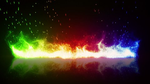 rainbow flaming fire and reflection loop - stock footage