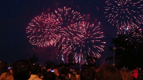 spectators watching fireworks - stock footage