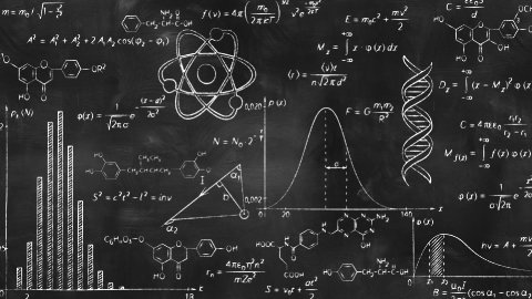 writing scientific formulas on black chalkboard - stock footage
