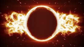 fiery circle and fractal form loopable background - motion graphic