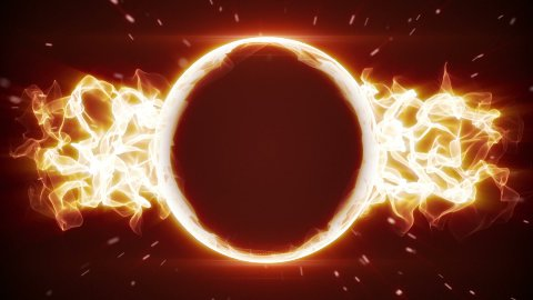fiery circle and fractal form loopable background - stock footage