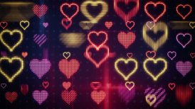 twitching glowing heart shapes loopable background - motion graphic