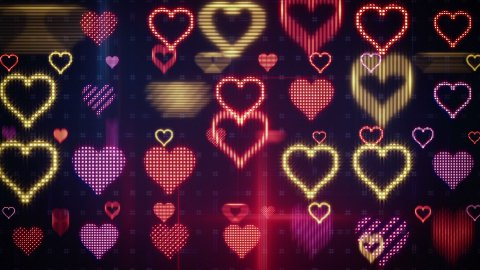 twitching glowing heart shapes loopable background - stock footage