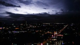 sequence of dramatic lightnings over big city at night - motion graphic