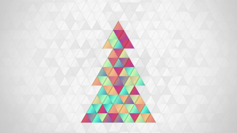 christmas tree shape of colorful triangles loop - stock footage