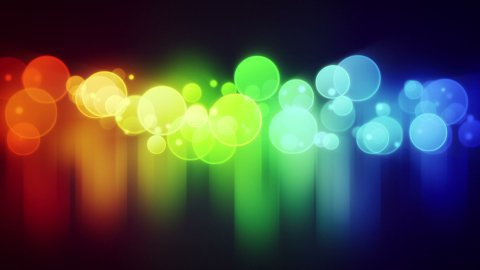 colorful circle lights with reflections loop background - stock footage