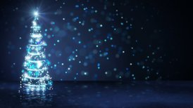 blue christmas tree of glowing particles loop - motion graphic
