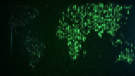 scan green digital world loop background - motion graphic