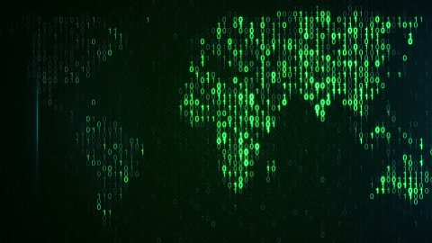 scan green digital world loop background - stock footage