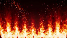 flaming fire wall and sparks loopable background - motion graphic