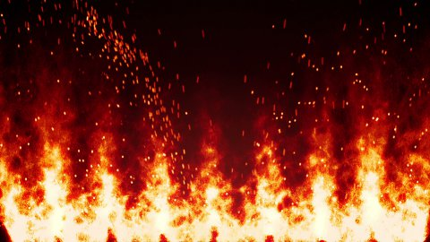flaming fire wall and sparks loopable background - stock footage