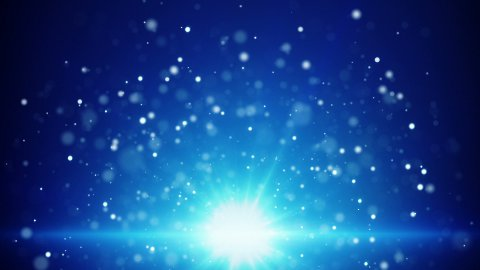 blue light and flying particles loop background - stock footage
