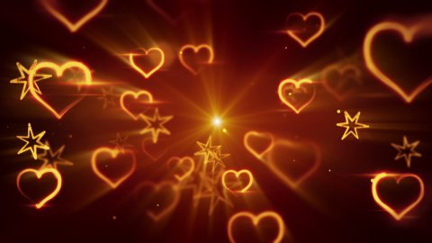flying shiny heart shapes seamless loop background - stock footage