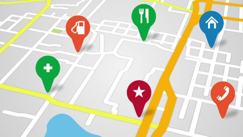 navigation city map and icons animation - stock footage
