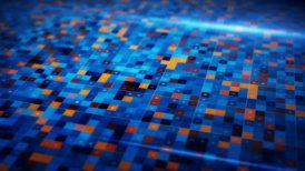 beaming blue orange squares loopable techno background - motion graphic