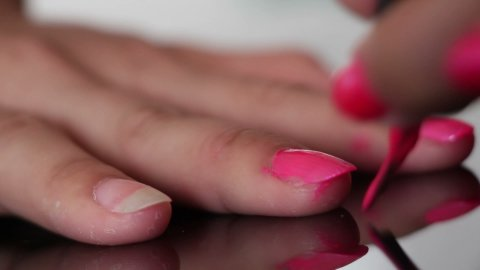 nail polish painting macro - stock footage