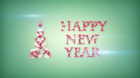 happy new year greeting triangles shape  - stock footage