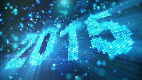 greeting new year 2015 of shining blue elements loop  - stock footage