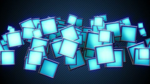 glowing blue squars techno loop background