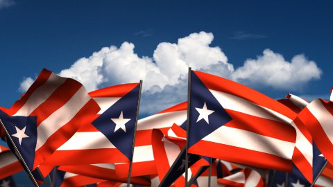 Waving Puerto Rican Flags - stock footage