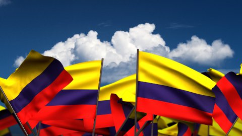 Waving Colombian Flags - stock footage