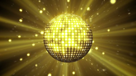 yellow disco ball shining seamless loop