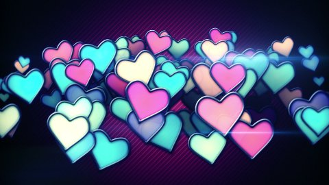 glowing colorful hearts loop background  - stock footage