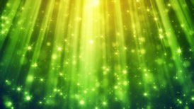 festive glitter particles in green light rays loop